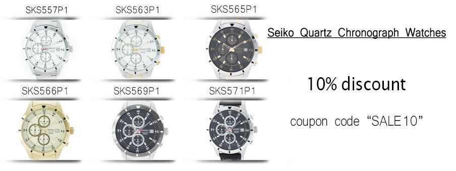 Seiko Quartz Chronograph watches on sale with free worldwide shipping