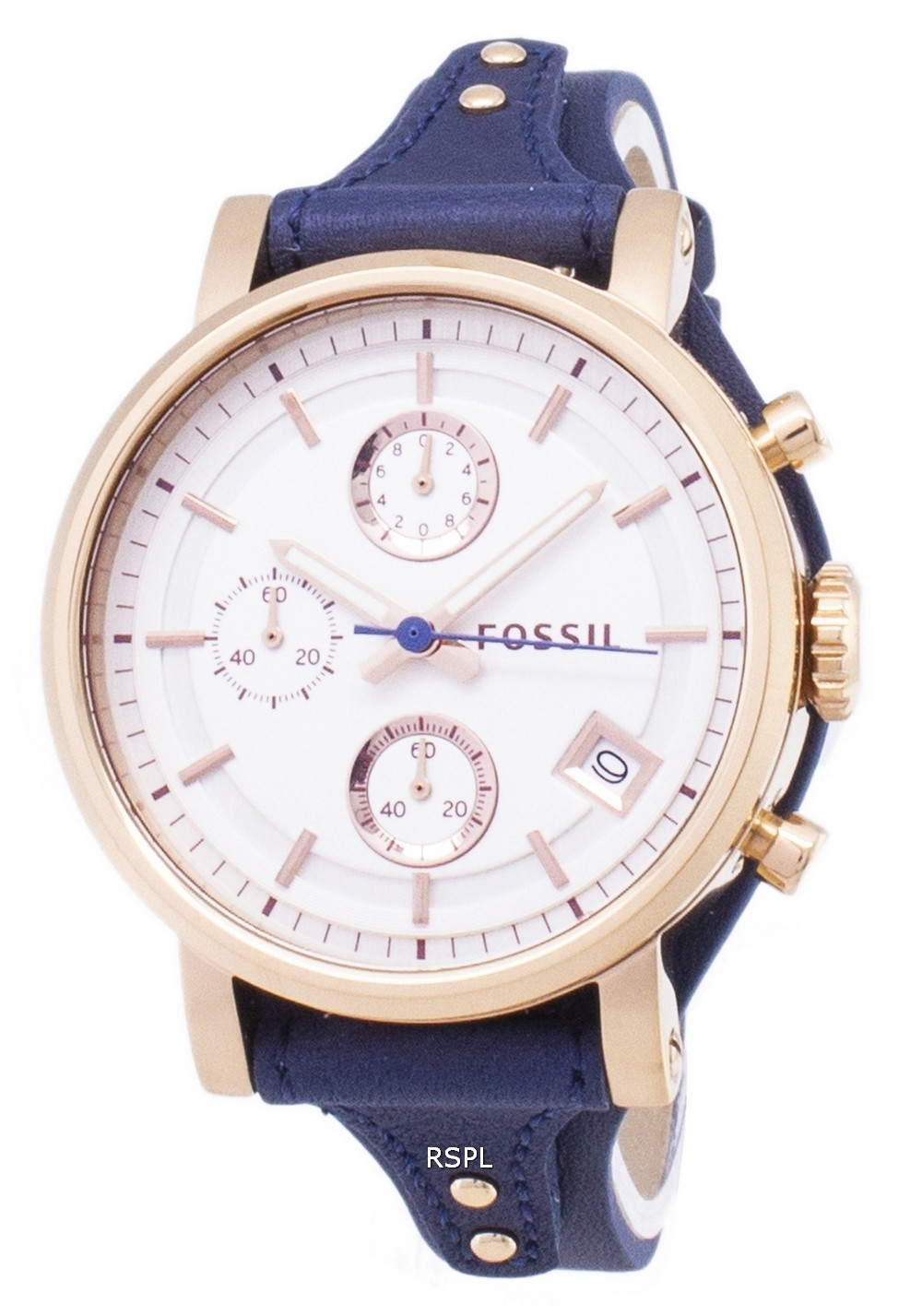 de38c90a7c8f Details about Fossil Original Boyfriend Quartz Chronograph Blue Leather  ES3838 Womens Watch